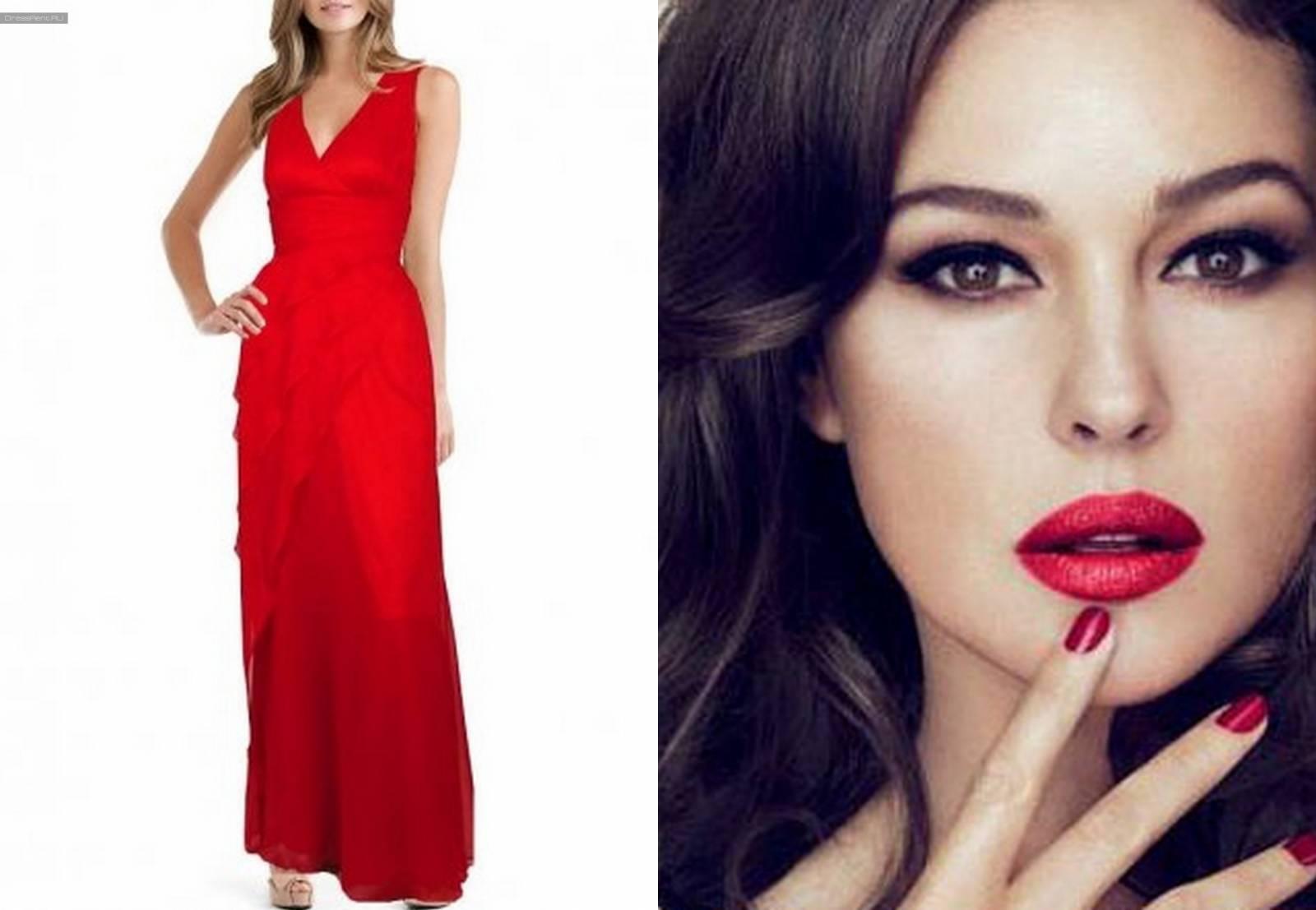 Макияж черно-красного платья